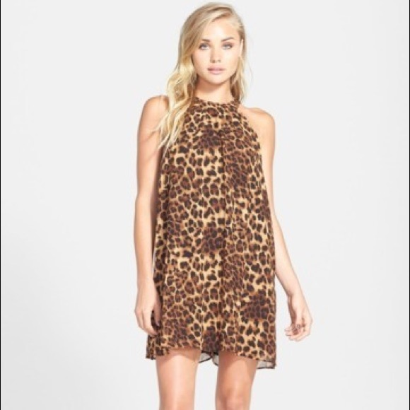 eaa7904957 Astr Dresses & Skirts - ASTR Halter Neck Leopard Animal Print Mini Dress